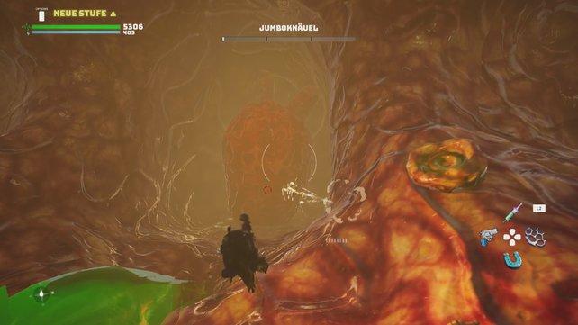In Jumboknäuels Inneres müsst ihr euch bis zu dessen Herz vorkämpfen und dieses zerstören.