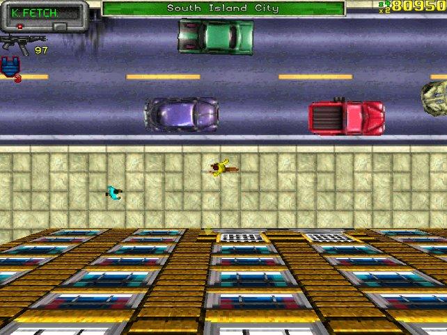 Die Straßen von Liberty City: In 2D sieht die Metropole leider nur halb so beeindruckend aus.