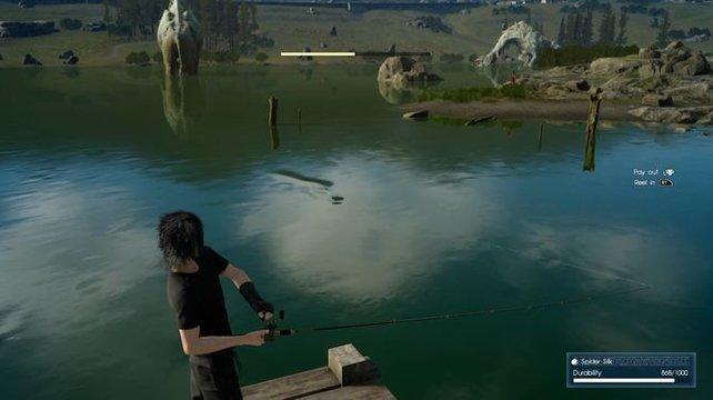 Der horizontale Balken zeigt die Ausdauer des Fisches an.