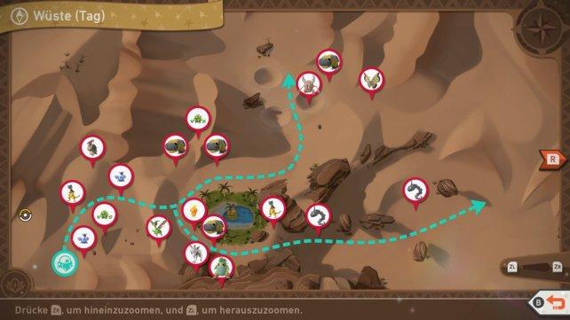 """Karte mit Pokémon-Fundorten auf der Strecke """"Wüste (Tag)""""."""