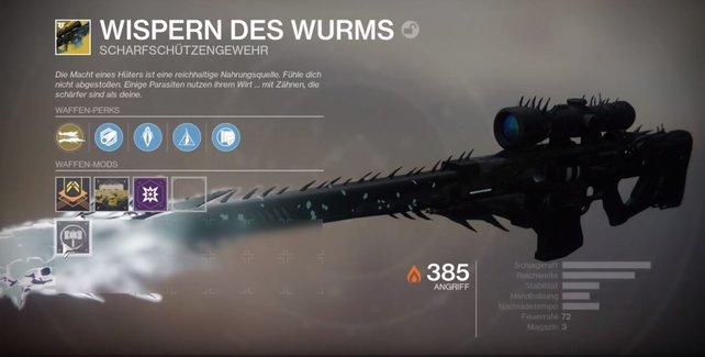 Schwarze Spindel wird zu Wispern des Wurms. Die exotische Powerwaffe ist ähnlich effektiv wie ihr Vorgänger.