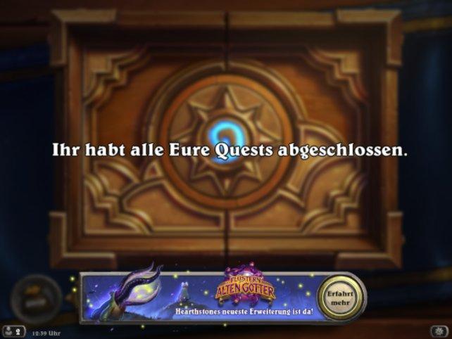 """Das Spiel macht euch direkt darauf aufmerksam, dass """"Das Flüstern der Alten Götter"""" nun verfügbar ist."""