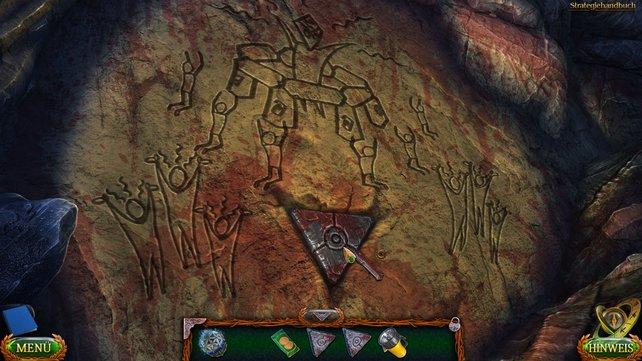 Geht in den linken Teil der Höhle, um hier den vierten Runenstein zu finden. Mit eurem Taschenmesser brecht ihr ihn raus.