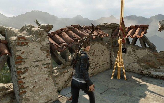 Schon so eine Flagge gehisst? Viele Herausforderungen in Shadow of the Tomb Raider löst ihr erst aus, wenn ihr mit Gegenständen interagiert, sie zerstört oder ähnliches.