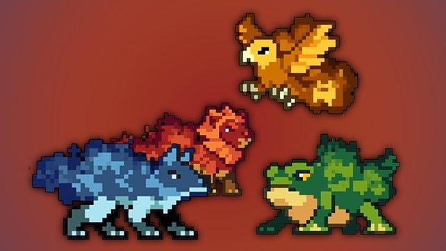 Zwischen diesen vier Spektralmonstern müsst ihr euch beim Spielstart in Monster Sanctuary entscheiden. (Bild: Monster Sanctuary | Moi Rai Games & Team17)