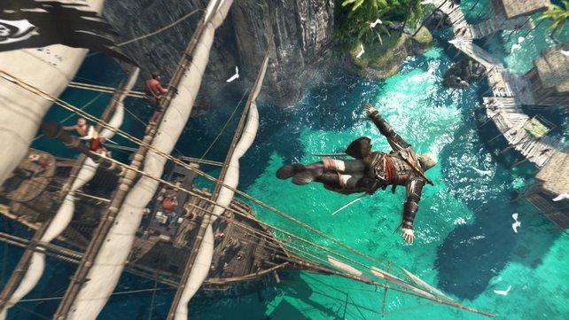 Wer denkt bei diesem Bild aus Assassin's Creed - Black Flag nicht sofort an Football? Vorbesteller bekamen einen schwarzen Football mit Spiellogo dazu.