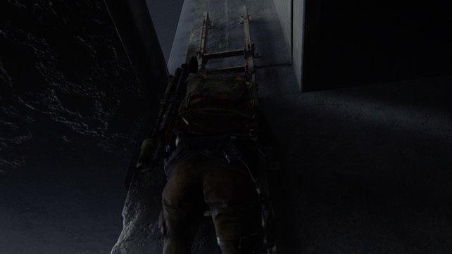 Nachdem ihr aus dem Wasser über die Balustrade geklettert seid, müsst ihr auch die noch die Leiter hinauf.