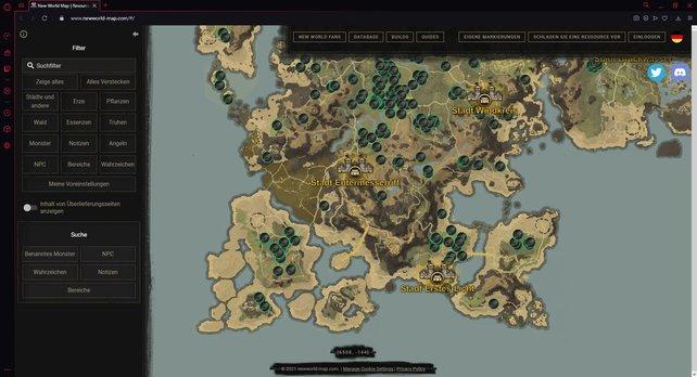 Mit der interaktiven Map von New World findet ihr schnell die Spots, an denen Hanf wächst.