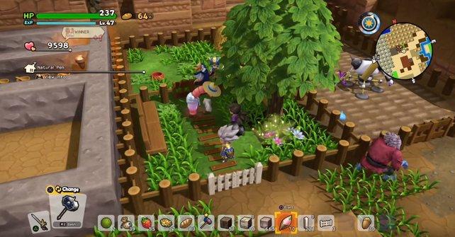 Freundlich und grün: So kann ein Streichelzoo in Dragon Quest Builders 2 aussehen.