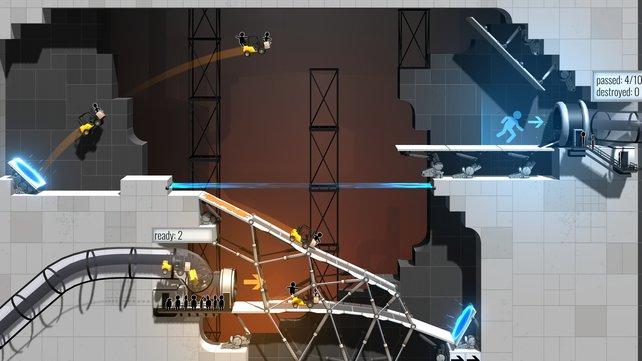Portal hält sich nicht an die gängigen Regeln der Physik. Damit müsst ihr euch jetzt auch als fleißiger Brückenbauer arrangieren.