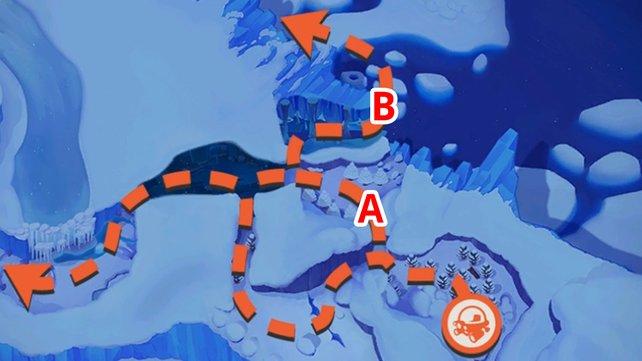 Schneefeld-Karte mit allen Routen.