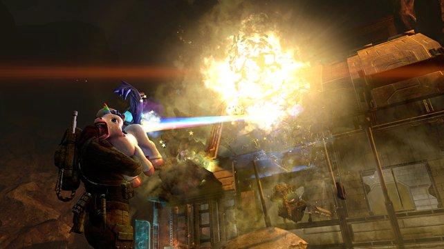 Das muss weh tun! Mr. Toots Regenbogenfürze sind die stärkste und niedlichste Waffe im Spiel.