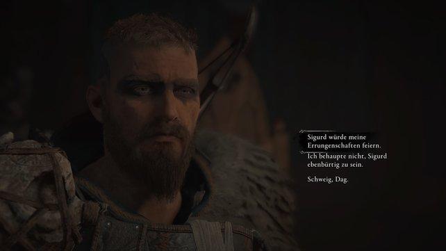 Bei dem großen Festmahl ist Dag erbost darüber, dass sich Eivor mit Sigurd gleichzustellen scheint.