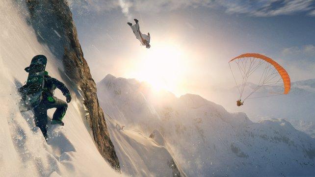 Abwechslungsreich: Mit vier Sportarten könnt ihr Spaß haben, nämlich Snowboard, Ski, Wingsuit und Gleitschirm.