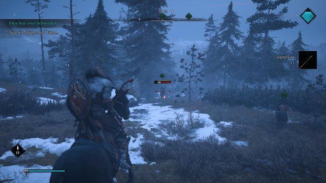 Wollt ihr die drei flüchtenden Piktenspäher einholen, solltet ihr euer Pferd rufen und dann zum Bogen greifen.