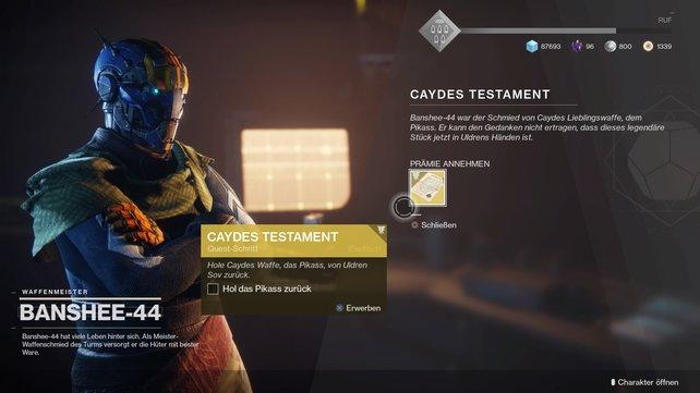 """Mehrere Schritte sind notwendig, um """"Caydes Testament"""" abzuschließen und die Pikass zu erhalten."""