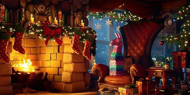 In die gemütliche Lodge, samt der Geschenke, gelangt ihr über den Schneeflocken-Tab in der Lobby.