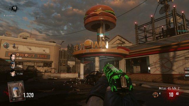 """Neues Zombiefutter gibt es rund um diese """"Fast Food""""-Bude und Kanalschächte."""