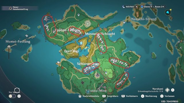 Sucht die eingekreisten Standorte auf, um das Kristallmark auf der Insel Yashiori zu ernten.