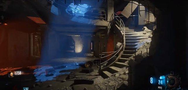 In diesem Bunker müsst ihr rechts die Treppe hinauf gehen - hier oben steht das Terminal.