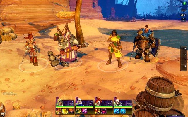Vier der sieben Champions im Überblick (von links): Die Kriegerin, der Priester, die Bogenschützin und der Ritter.