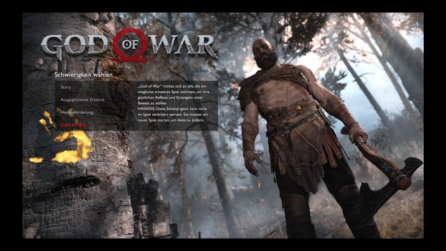 Insgesamt könnt ihr bei God of War zwischen vier Schwierigkeitsgraden wählen