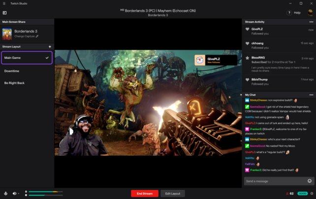 Auf einem Beispielbild seht ihr das Layout der Twitch-Streaming-Software. Quelle: Twitch.tv