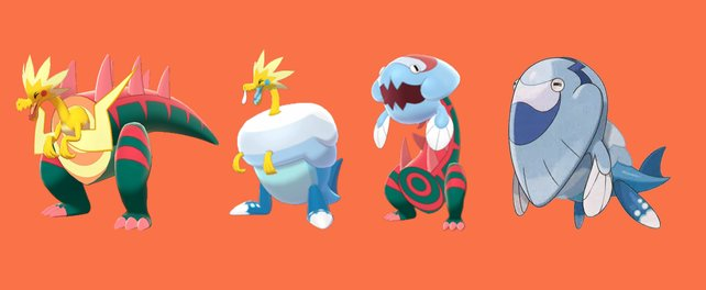Die vier Fossilien-Pokémon: Lectragon, Lecryodon, Pescragon und Pescryodon.