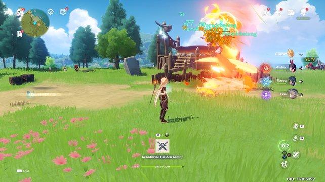 Durch echtes Teamwork brutzle ich meine Gegner mit einem Feuersturm.