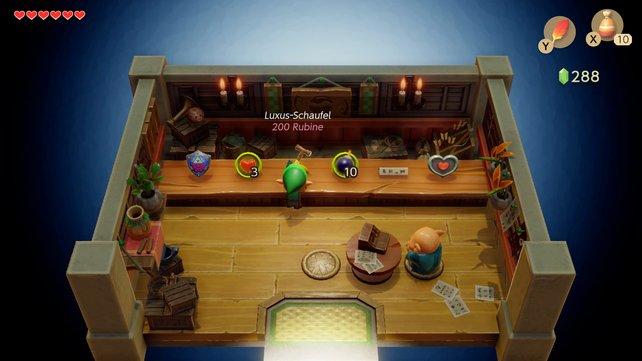 Wusstet ihr, dass ihr in Link's Awakening den Item-Laden bestehlen konntet? Das ist auch im Remake möglich.