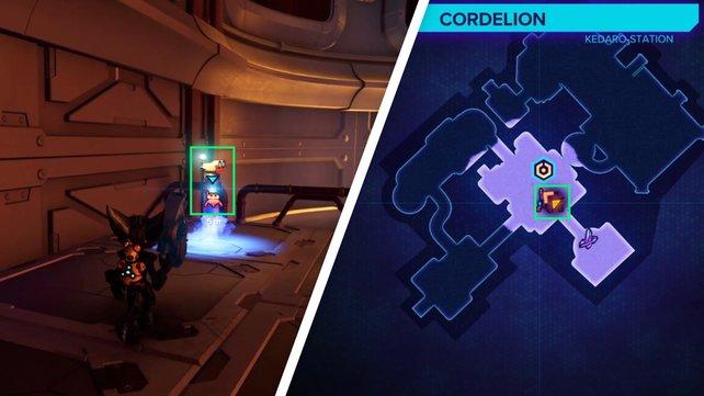 Der Spionbot versteckt sich auf einer erhöhten Plattform, direkt über dem Eingang des Gebäudes.