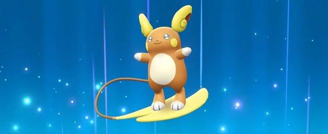 Alola-Formen gehören meist einer spannenden Typkombination an. Alola-Raichu ist z.B. ein Elektro/Pyscho-Pokémon.