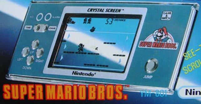 Als Game-&-Watch-Konsole erscheint Super Mario Bros. gleich zweimal. Dieses Spiel hat aber fast nichts mit dem NES-Vorbild gemein.