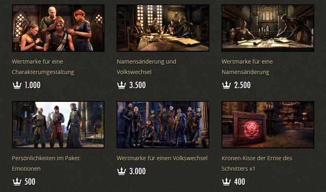 In Buy2play-MMOs wie The Elder Scrolls Online könnt ihr euch in den Shops meistens nur nützliche oder kosmetische Dinge kaufen.