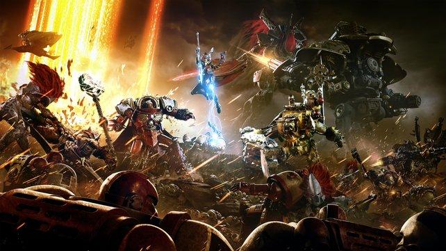 In Dawn of War 3 gehen sich Ork, Eldar und Space Marines an die Gurgel.