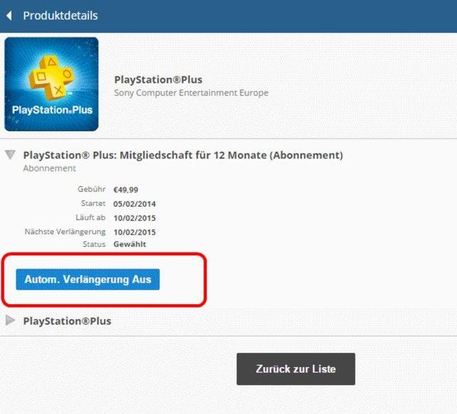 """Wählt den Punkt """"Autom. Verlängerung AUS"""", um das PlayStation Plus-Abo zu kündigen bzw. zu beenden."""