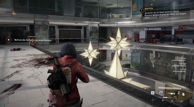 Praktisch: Diese stylischen Lampen könnt ihr abschießen und auf die Zombies unten fallen lassen.