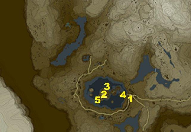 Die fünf Aufgaben im Tabanta-Turm findet ihr an diesen Standorten im Dorf der Orni.