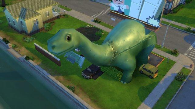 Auch ein überdimensionaler Dinosaurier kann dank Debug euer Grundstück zieren.