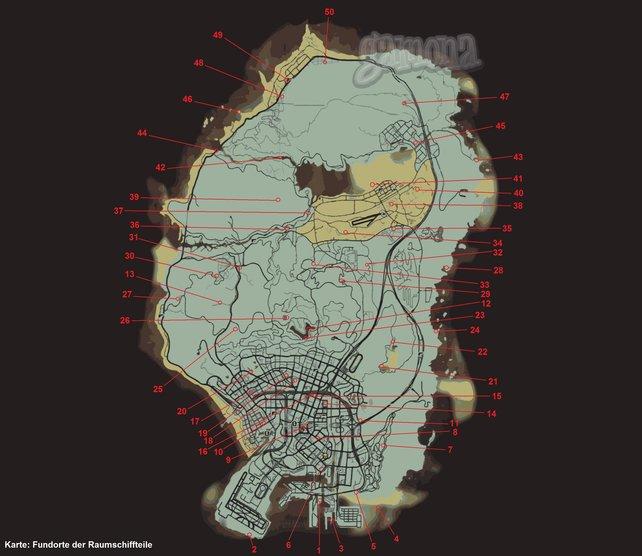Die Raumschiffteile-Fundorte. Klickt auf die Map, um sie zu vergrößern.