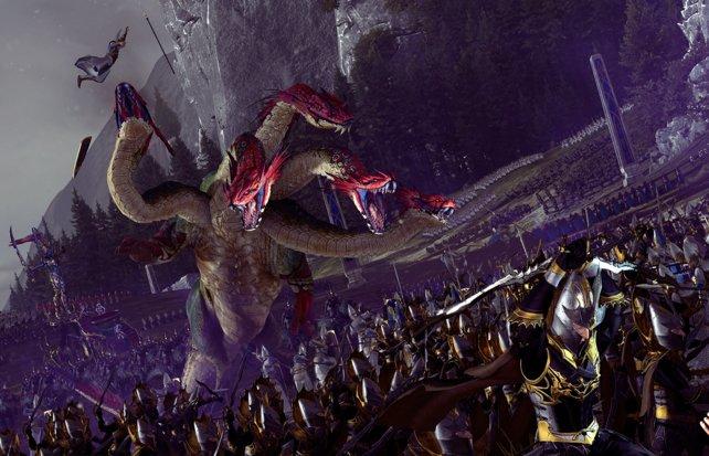 Die Hydra kann von den Dunkelelfen in den Kampf geschickt werden. Jede Rasse hat solche einzigartige Einheiten.