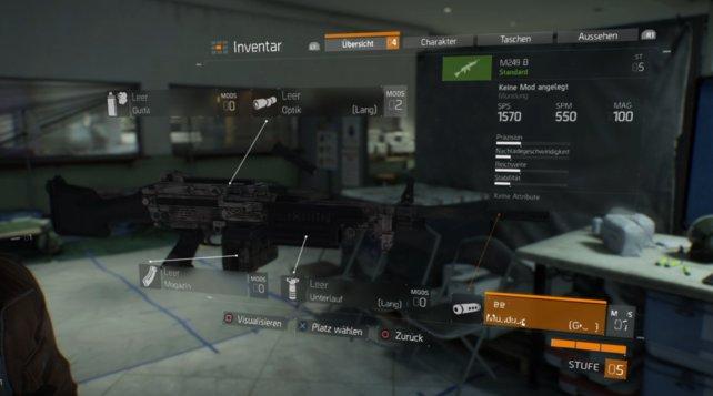 Waffenansicht im Menü, mit den ausgerüsteten Waffen-Mods