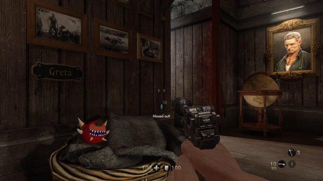 Da schau her! Ein Cacodemon aus Doom als Spielzeug im Hundekörbchen.