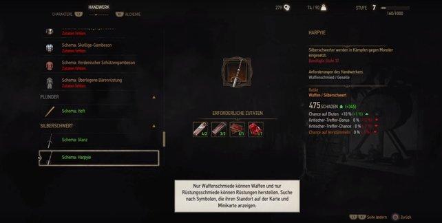 Witcher 3: Harpyie ist ein Vorschlag für die besten Waffen.