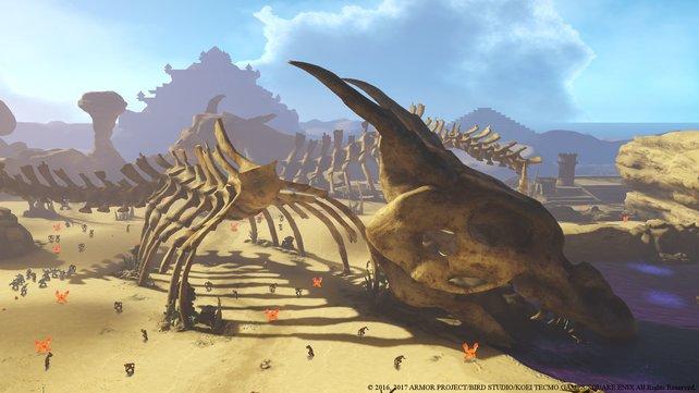 Glücklicherweise sind eure Gegner dann doch nicht so gigantisch wie dieses Skelett.