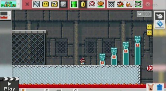 Am Ende jedes Schloss-Levels ist eine an einen Axtschalter gekoppelte Zugbrücke montiert. Aber ob Bowser oder jemand ganz anderes darauf hockt und Feuer speit, ist die Sache von euch Baumeistern.