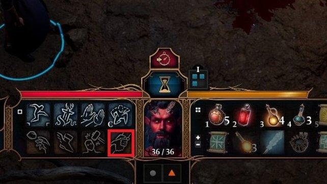 Klickt auf das rot markierte Symbol, um einem Charakter vom Todeskampf zu befreien.