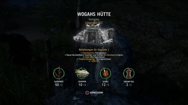 Wogahs Hütte upgraden --> Upgrade 1