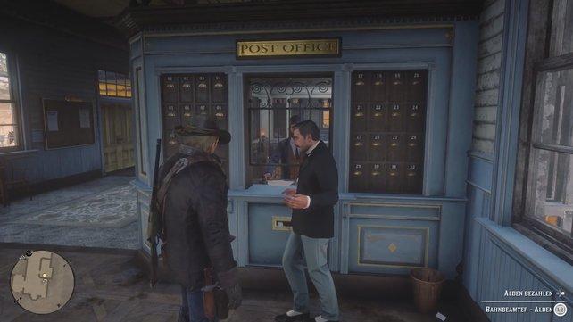 Telawny bequatscht den Postmeister Alden. Um ein paar nützliche Informationen zu erhalten, müsst ihr ihm ein paar Dollar zuschieben.