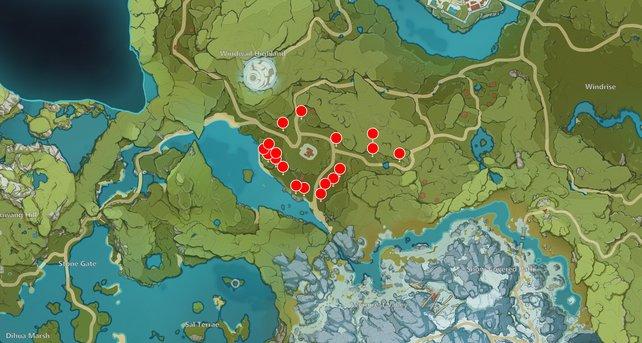 Die Karte zeigt euch einige Zedernholz-Fundorte in Genshin Impact.
